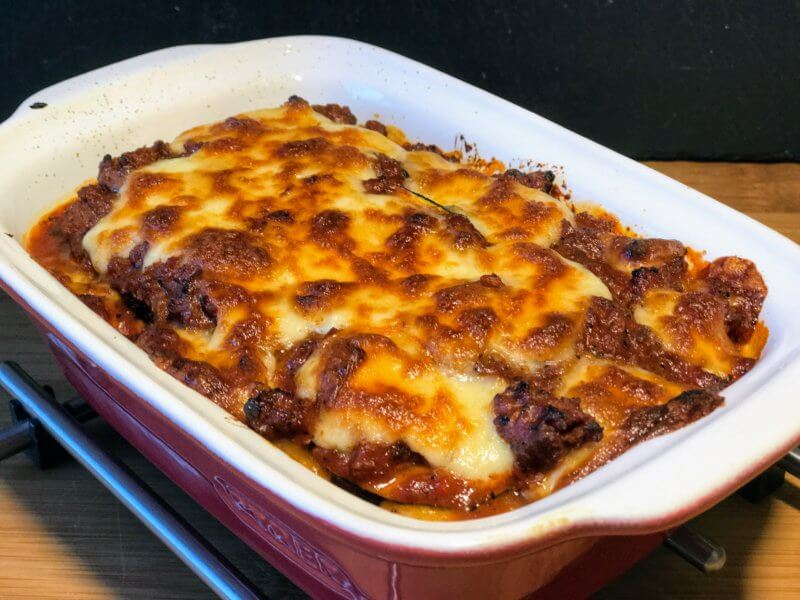 Courgette lasagne with broccoli