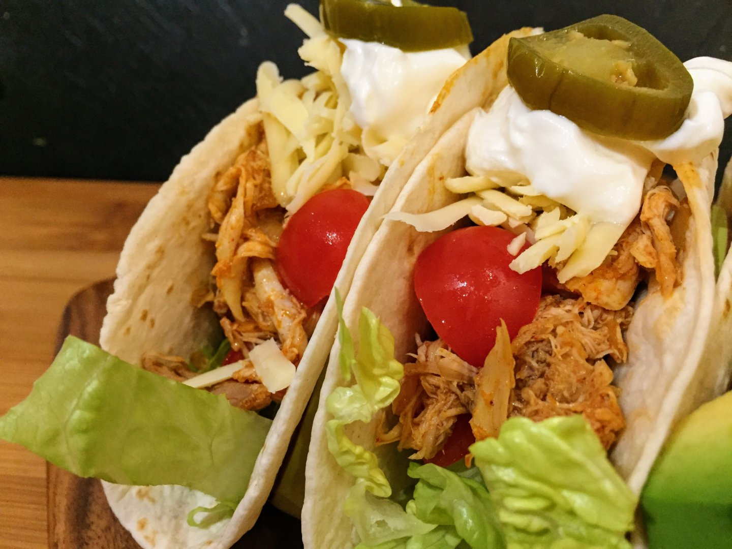 pulled chicken soft tacos