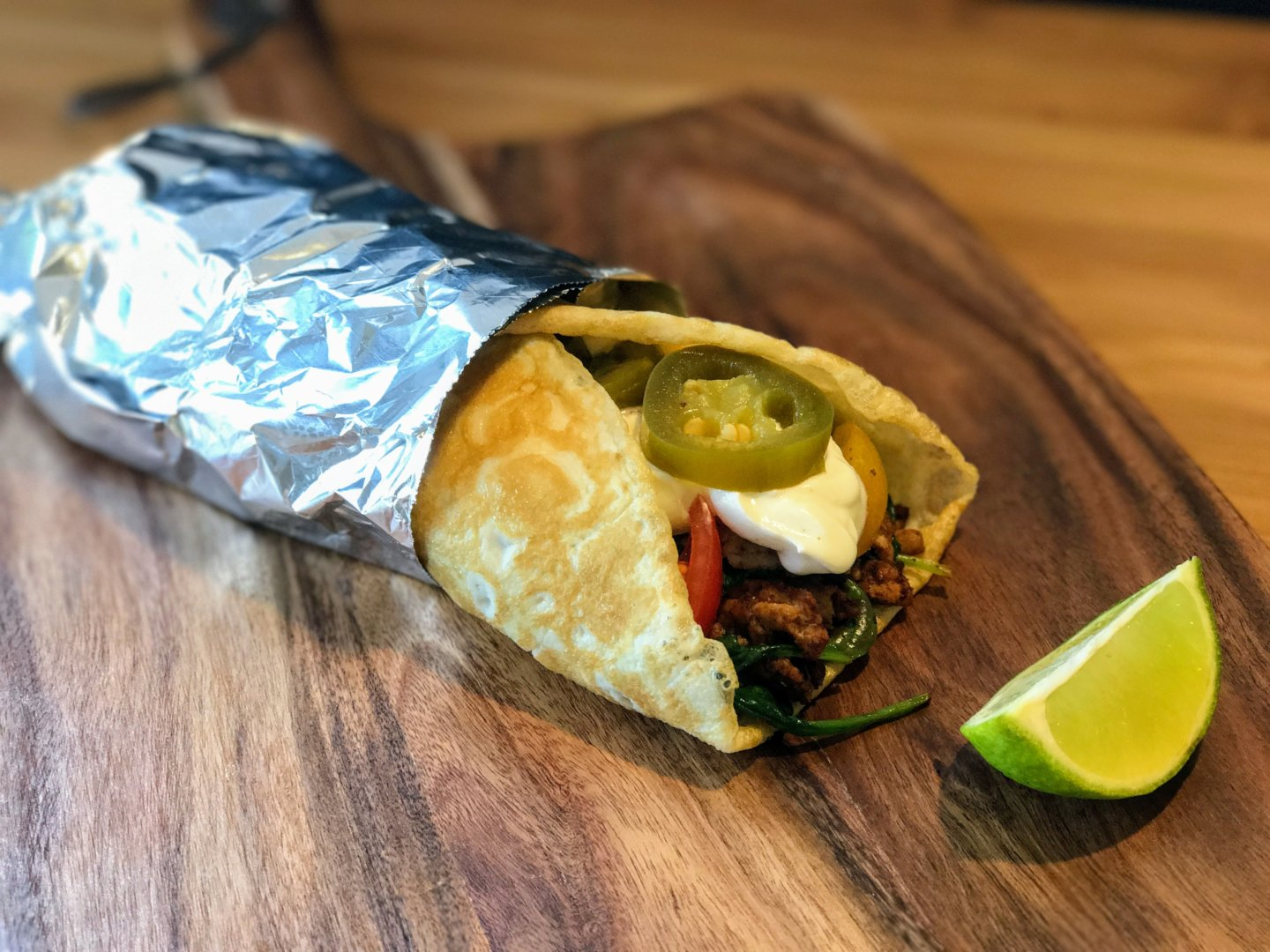 Breakfast burrito with a twist