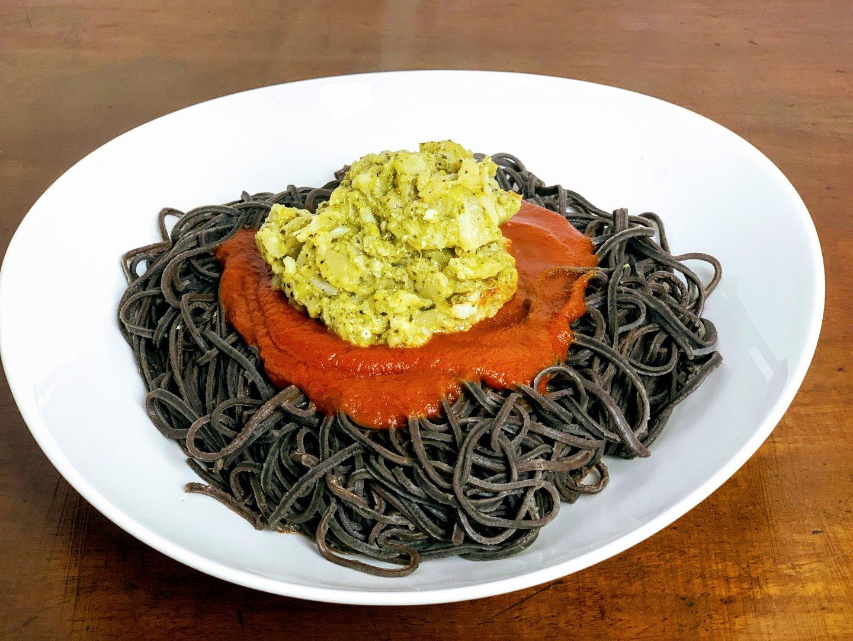 black bean spaghetti with broccoli