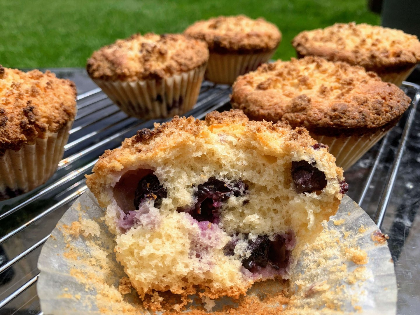 Blueberry crumble sourdough muffins