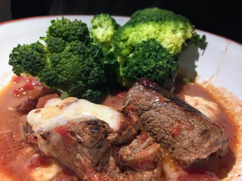 Braciole with steamed broccoli