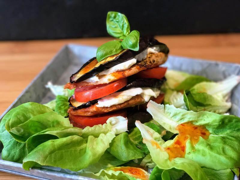 Chicken aubergine & mozzarella stack