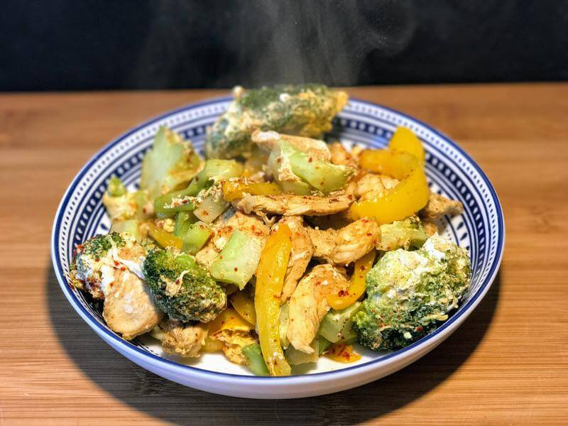 Chicken stir fry with egg fried vegetables