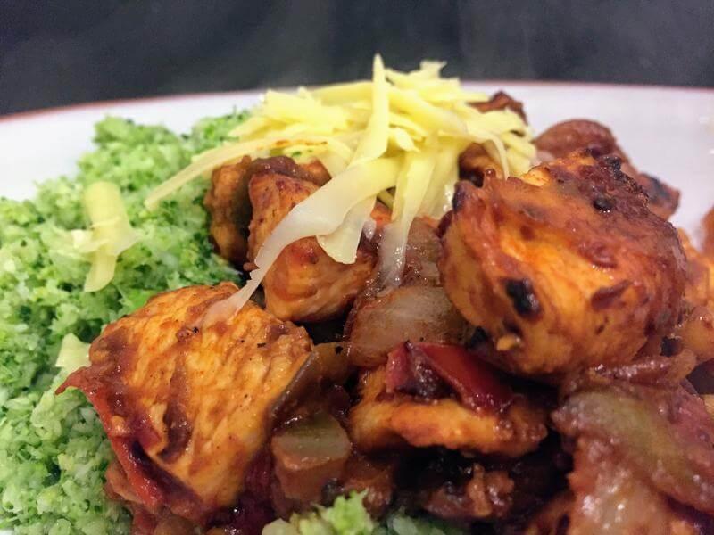 Chilli chicken with broccoli rice