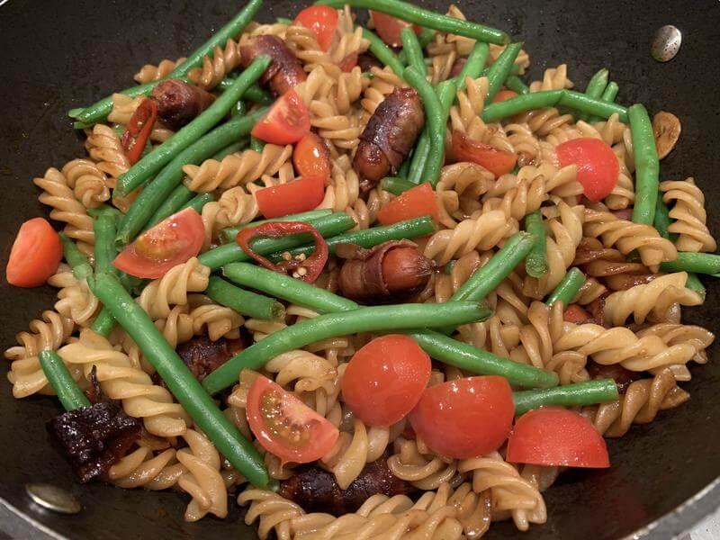 Chorizo balsamic warm pasta salad