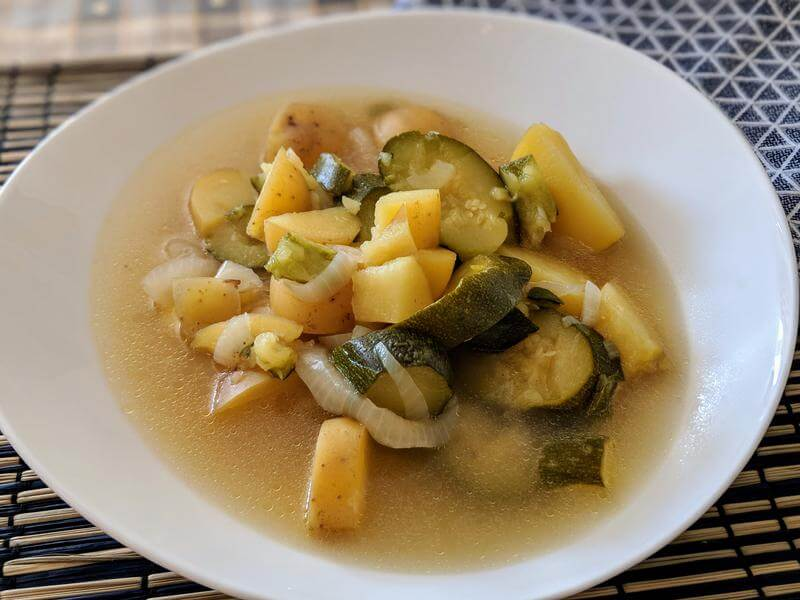 Chunky courgette and potato soup