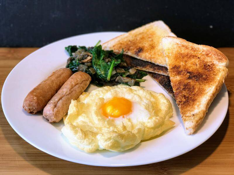Cloud eggs with a cheeky chicken sausage