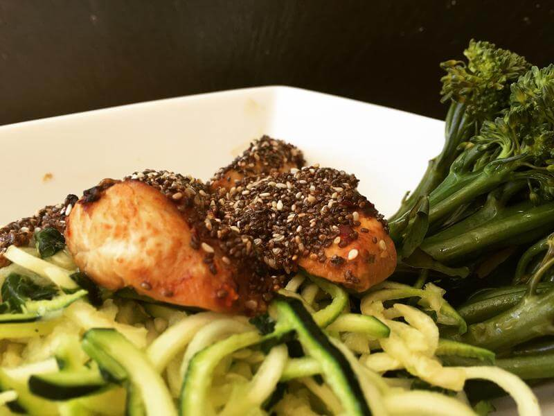 Coconut chilli lime chicken with lime courgetti