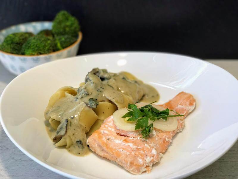 Creamy pasta ribbons with oven poached salmon