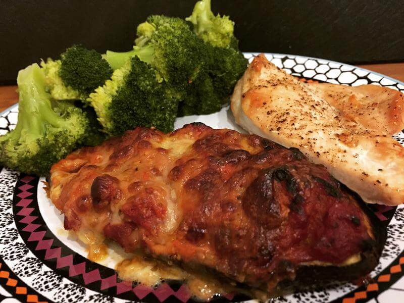 Crispy chicken with aubergine pizza