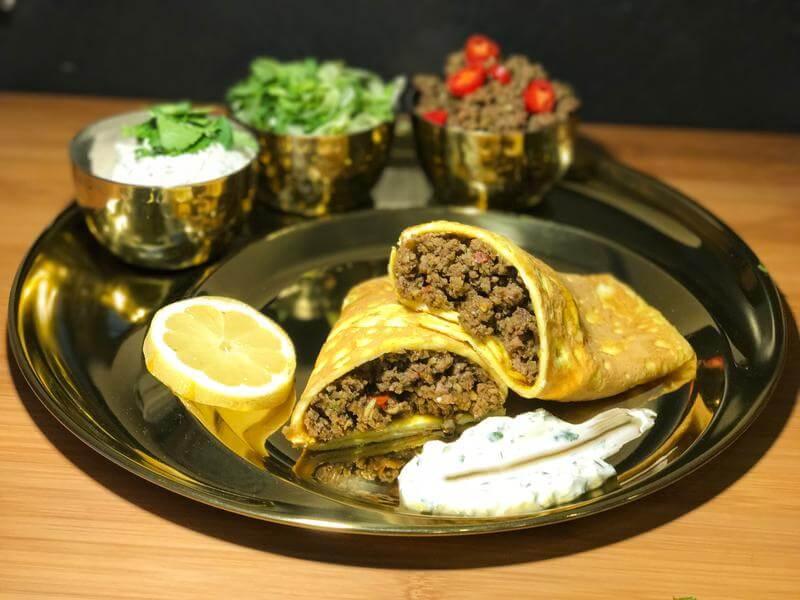 Egg wrap spicy beef & cauliflower samosas