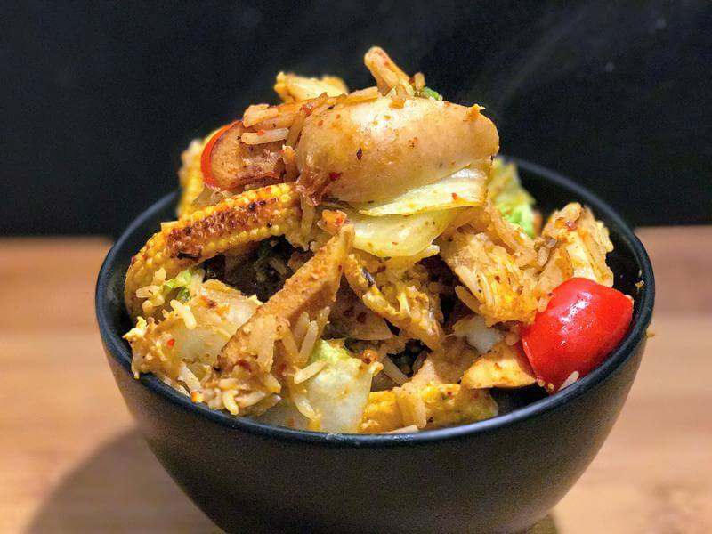 Korean egg fried rice with chicken sausage
