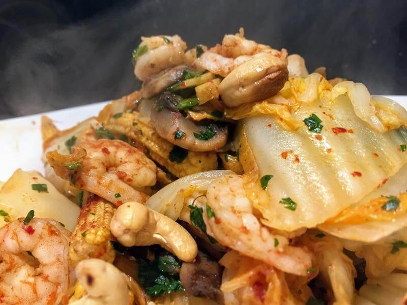 Korean spiced king prawns