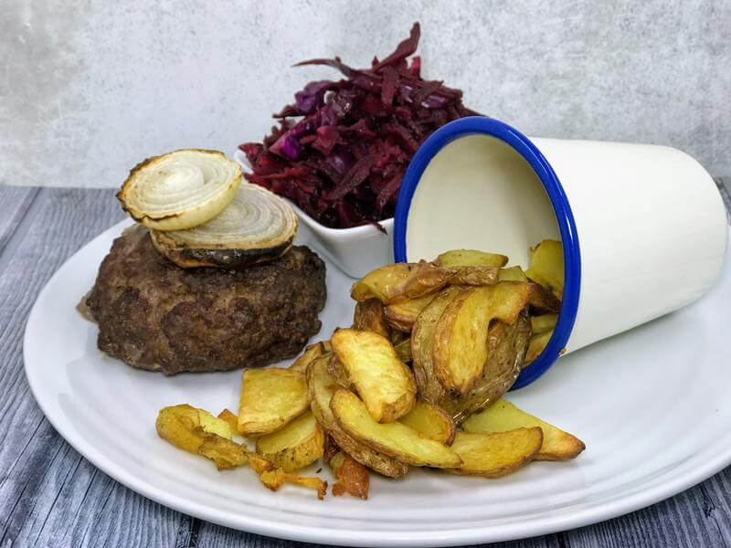Mid-week burger, chips and slaw