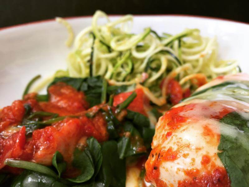 Moroccan spiced cheddar topped chicken with lemon courgetti
