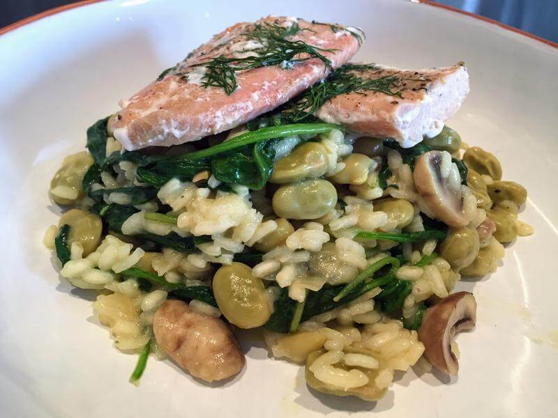 No stir salmon and broad bean risotto