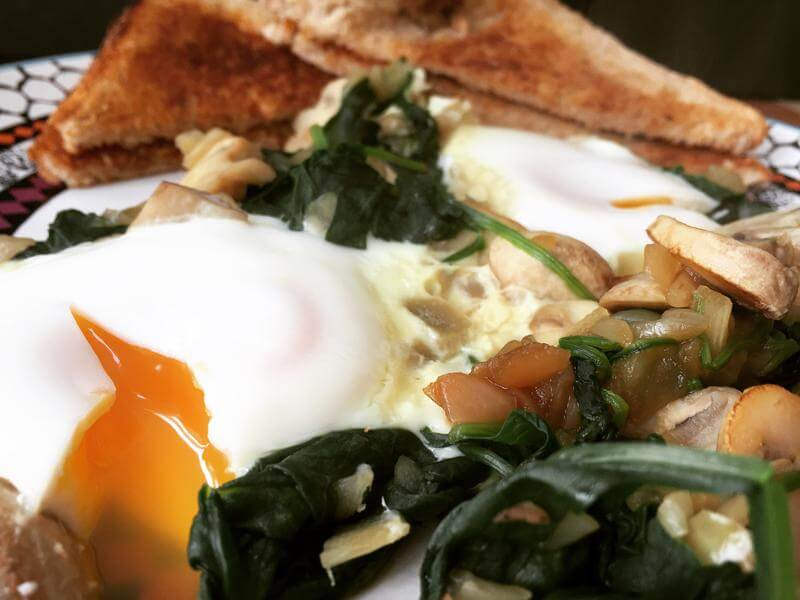 One pot veggies with poached eggs and toast