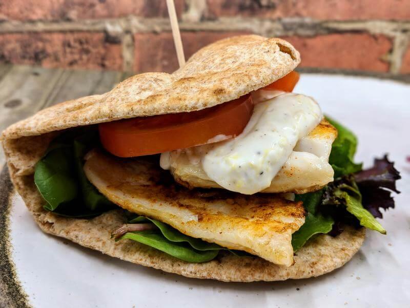 Pan fried cod flatbread with lemon mayo