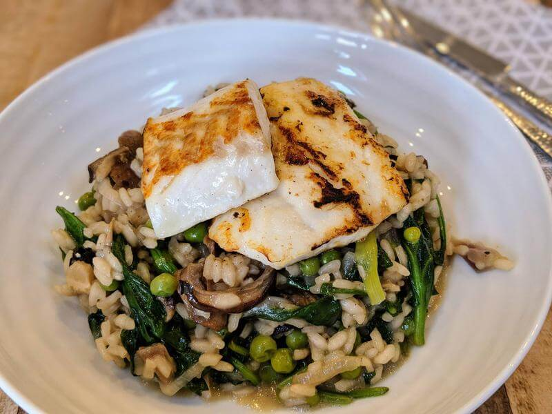 Pan fried cod with a no stir risotto