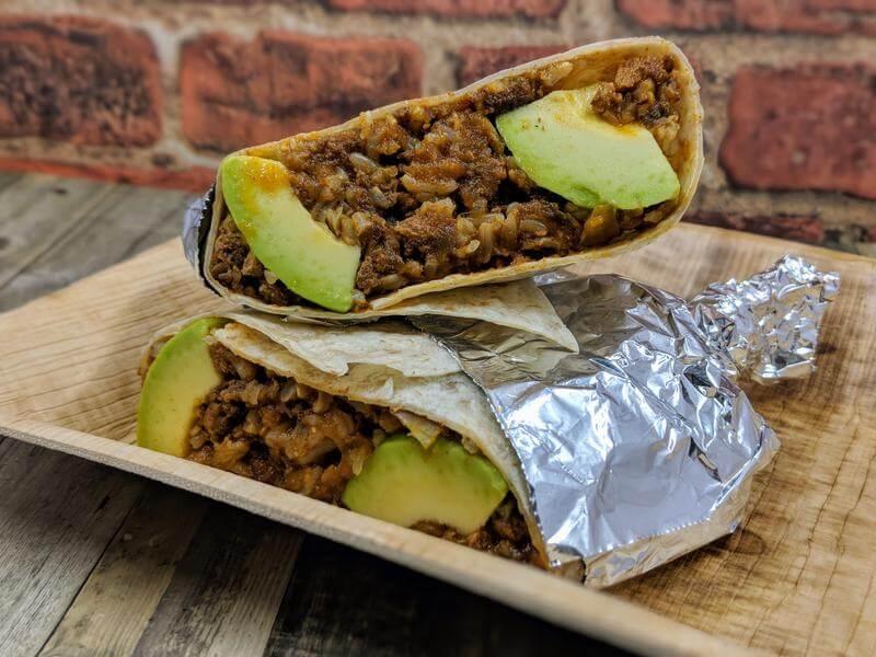 Picadillo burrito
