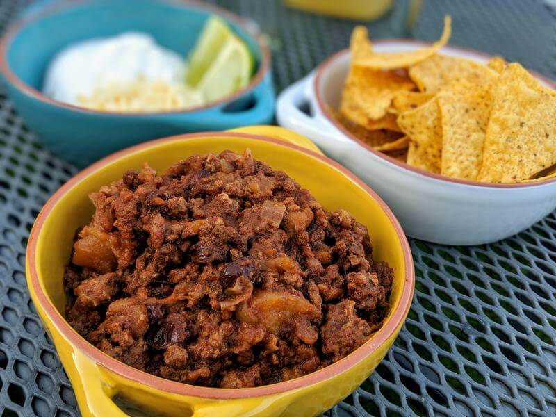 Picadillo with tortilla chips