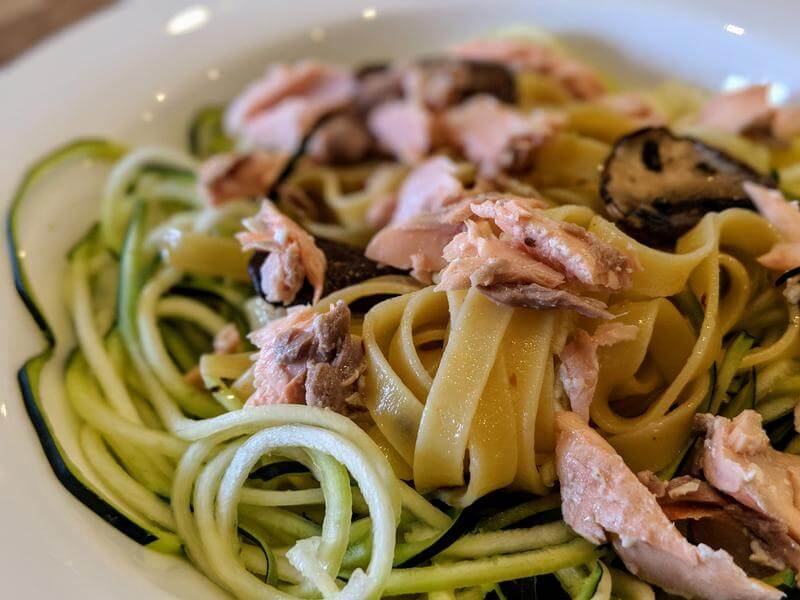 Poached salmon with garlic and chilli tagliatelle