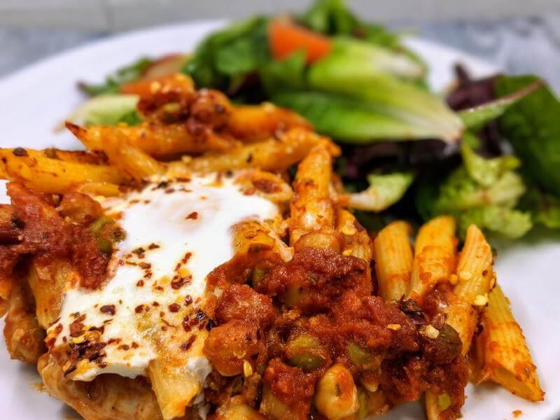 Protein supercharged veggie pasta bake