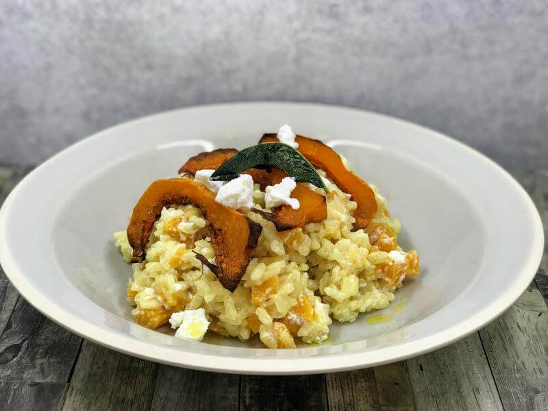 Roasted butternut squash, sage and ricotta no stir risotto