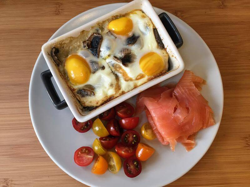 Spinach & Mushroom Egg Pots with Smoked Salmon