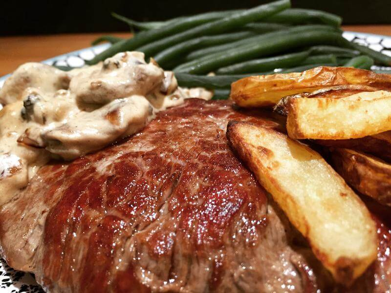 Steak with new potato fries