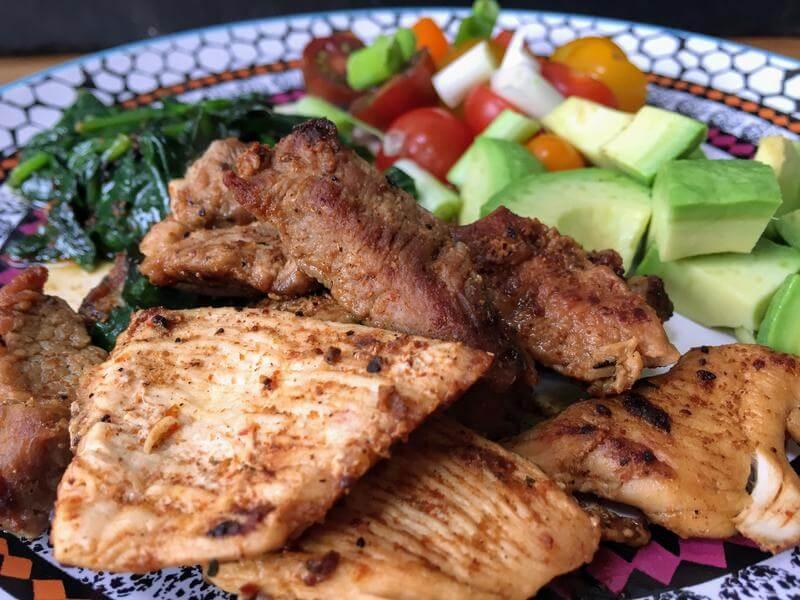 Stir fried Cajun turkey with a chopped salad