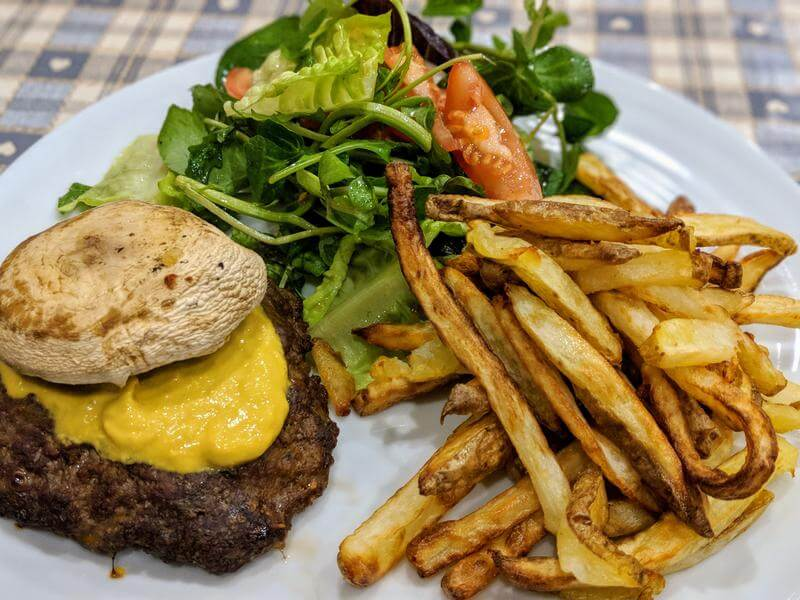 Thai burger with shoestring fries
