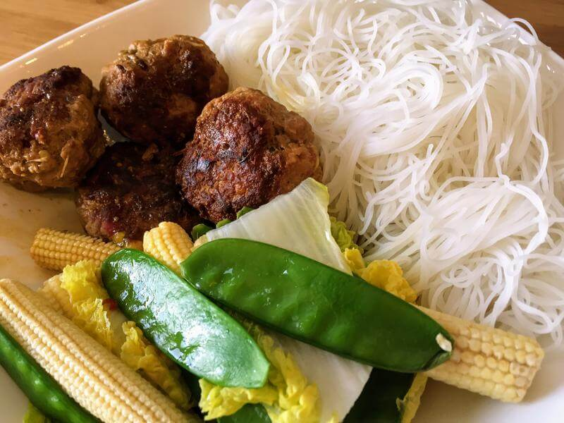 Thai turkey balls with a miso broth & rice noodles