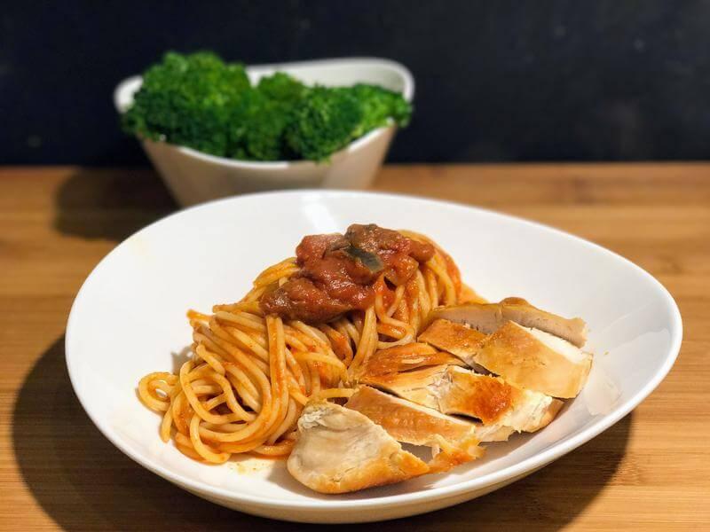 Tomato & aubergine pasta with chicken